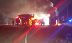 Big Rig Fire Closed i635 Early Tuesday Morning in Grapevine, TX