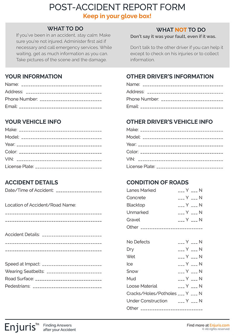 post-accident report form from Enjuris.com